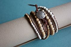 Natural Bone and Leather Wrap Bracelet by treeleafjewellery