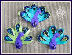 <3  Peacock Hair Clips  <3  Love this #peacock #RibbonSculpture hair clip I recently made.  A few different variations are available for purchase.  Contact me at #EllaBellaBows on fb.  :)