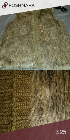 Faux fur sweater vest Does it get any more glam than this? Perfect condition faux fur sweater vest. Size XL, but no closure so could be sized up or down. Xhilaration Jackets & Coats Vests