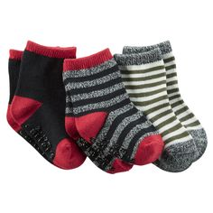Kid Boy 3-Pack Striped Socks | Carters.com