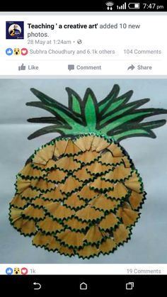 Pineapple craft and art ideas Diy Arts And Crafts, Diy Crafts For Kids, Fun Crafts, Paper Crafts, Toilet Roll Craft, Craft From Waste Material, Pencil Crafts, Pencil Shavings, Art Drawings For Kids