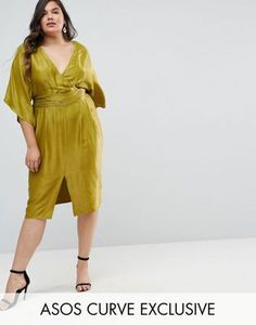 8fd990f49d8d ASOS CURVE Kimono Sleeve Midi Dress with Pleated Waist Asos Curve