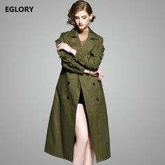 Limited Offer $81.82, Buy 2017 Autumn Winter New Trench Coats Women Turn-down Collar Ruffles Floral Sleeve Double Breasted Army Green Khaki Coat Outerwear