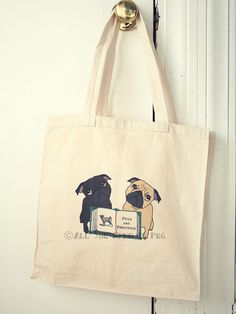 Pugs and Prejudice Tote Bag for Book Lovers - from All You Need is Pug - jessicalynneart, $17.00