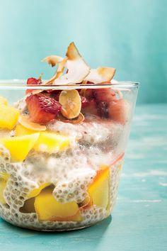 Coconut Chia Pudding   ingredients: coconut milk, white chia seeds, honey, vanilla, mango, strawberry, and almonds.