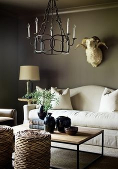 The perfect wall color for my living room My Living Room, Home And Living, Living Spaces, Living Room Inspiration, Interior Inspiration, White Couches, Grey Walls, Dark Walls, House And Home Magazine