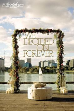 """Love this modern altar with a fun """"We Decided On Forever"""" sign."""