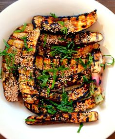 This Asian-style vegetarian entree goes great with a bit of grilled tofu, or serve this eggplant dish alongside your favorite grilled meat or fish. The glaze is so good youll want to eat it with a spoon! Japanese Eggplant Recipes, Grilled Eggplant Recipes, Grilled Tofu, Tofu Recipes, Grilling Recipes, Asian Recipes, Whole Food Recipes, Japanese Vegetarian Recipes, Grilled Pizza