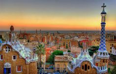 Parc Guell is situated at Barcelona, Spain. Park Güell is a garden complex with architectural elements situated on the hill of el Carmel in the Gràcia district of Barcelona,Catalonia, Spain. Beautiful Places To Visit, Cool Places To Visit, Places To Travel, Travel Destinations, Amazing Places, Travel Tips, Amazing Photos, Tourist Places, Tourist Spots