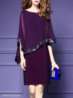 Color: Purple Black Size: S M L Xl Collar_&_neckline: Round Neck Dress_silhouette: Fitted Embellishment: Glitter Length: Midi Material: Polyester Sleeve: Raglan Sleeve Style: Basic