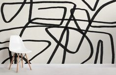 Create a bold feature wall that will add a unique aspect to your interior theme with the Bold Black and Beige Doodle Abstract Wallpaper Mural. Blue Geometric Wallpaper, Bold Wallpaper, Black And White Wallpaper, Black And White Abstract, Wallpaper Murals, How To Hang Wallpaper, Normal Wallpaper, Beige, Homes