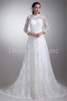 Fantastic Lace 3/4-Length Sleeves A-Line Spring/ Fall Wedding Dresses #wedding #weddinggown #weddingdress #dress #fashion #bigday #womenfashion #womenwear #2015wedding