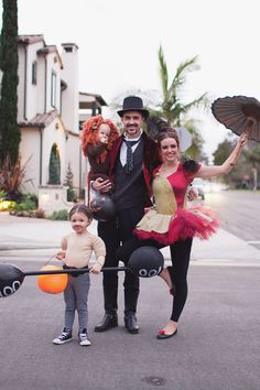 Save this family Halloween costume idea to dress up as a circus crew.