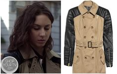 Spencer Hastings (Troian Bellisario) wears this brown coat with leather sleeves in this week's episode of Pretty Little Liars.She has worn this in a few past episodes.It is the by Walter Baker Milly Trench Coat. You can buy it HERE. Pretty Little Liars Outfits, Pretty Little Liars Seasons, Spencer Hastings, Top Coat, Raincoat, My Style, How To Wear, Jackets, Troian Bellisario