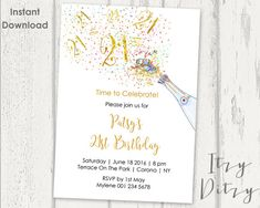 Birthday Digital Printable Invitation Template  Confetti Party