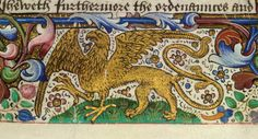 Royal 18 A XII, f. 1, Griffin of Salisbury.  Detail of a miniature of the griffin of Salisbury in the lower margin of the folio, at the beginning of book 1.