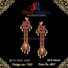 A nice, traditional pair of earrings for the classy, traditional get-together like poojas... find the most perfect pair of earrings in 92.5 silver and emblazoned with semi precious stones... from Shree Ambica - Your Trusted Silver Jewellers. Readily available in stock For Price and Details Message on - +919866110500 #ShreeAmbica #tustedJewellers #SilverJewellery #indianbride #indianwedding #jewelryforsale #jewelryswag #jewelrygoals #musthave #sterlingsilverjewelry South Indian Jewellery, Indian Jewellery Design, Indian Jewelry, Jewelry Design, Sterling Silver Jewelry, Pairs, Jewels, Traditional, Earrings