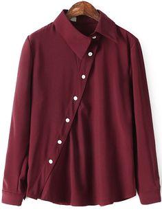 Lapel Oblique Buttons Wine Red Blouse