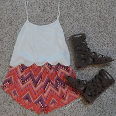 White tank and cute fabric shorts is all you need to be easy breezy cute in the summer