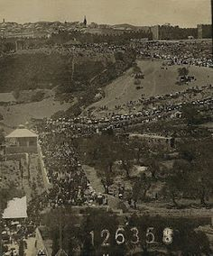 Jerusalem from the Mt. of Olives, showing the throngs  in the city at Passover time, 1911 (5671)