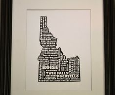 Great IDAHO print, highlights all the places that I have amazing memories. Moscow, Boise, Twin, Poky...even the valley.