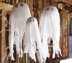 Hanging Ghosts - Oh SO easy to make!  Can't believe what companies try to charge for these!