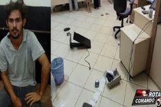 """Homem invade fórum e quebra tudo.     Na tarde desta quarta-feira (26), Leandro da Fonseca Cruz, conhecido pelo apelido de """"Corim"""", inva..."""