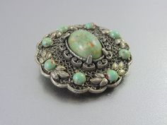 A Vintage Ornate Chinese Export Silver Filigree and Faux Turquoise Brooch. Weighty.. The Old Junk Trunk. on Etsy, $62.00