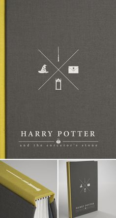 Harry Potter and the Sorcerer's Stone book cover redesign. By Dustin Sheldon via re-covered books Agenda Harry Potter, Harry Potter Book Covers, Book Cover Design, Book Design, Minimalist Book, The Sorcerer's Stone, Lord Voldemort, Book Jacket, Book And Magazine