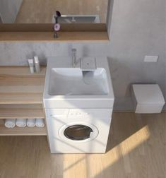 Space-saving washbasin, designed to be installed above a washing-machine. Maximum space-saving in a small bathroom ! Tiny House Bathroom, Laundry In Bathroom, Small Bathroom, Tiny Bathrooms, Mini Bad, Small Toilet Room, Paint Colors For Living Room, Laundry Room Design, Bathroom Interior Design