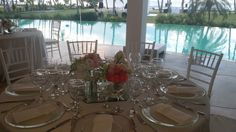 Flower table decoration at the pool