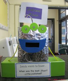 Here's a super cute idea one elementary school librarian did to help encourage kids to use the library's resources. It's name is Zoinks the Answer Alien. Every week, Zoinks asks a… Library Games, Library Skills, Library Activities, Library Lessons, Library Books, Library Ideas, Library Inspiration, Library Center, Elementary School Library