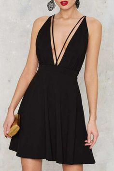 A-Line Short Mini Plunge Neck V-Neck Sexy Cross Straps Backless Dress