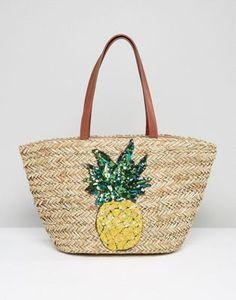 Glamorous Straw Beach Bag With Pineapple Embroidery 밀짚 모자 db200eb95d8cf