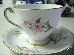 Clarence Bone China White Lily  Tea Cup and by 2MoonswithCharm