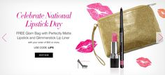 Today is National Lipstick Day! :-D and to celebrate lipstick, TODAY ONLY (ends at midnight tonight, ET) with your $50+ online order, Avon will give you for FREE (3 of my favorite things, btw!) a Perfectly Matte Lipstick, a Glimmerstick Lip Liner, and a trendy Glam Bag to keep them in! I know the guys may not want this stuff buuut what about your lady? ;-) More details here: LipstickShoesAndMore.net/national-lipstick-day-16 or go to my eStore LipstickShoesAndMore.com