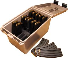 Shop MTM Tactical Magazine Can Holds Fifteen Or Magazines Securely In Place Dark Earth Color Lockable Can and more from Cheaper Than Dirt! Rifles, Camouflage, Ammo Storage, Reloading Ammo, Magazine Storage, Gun Rooms, Ammo Cans, Survival Items, Tac Gear
