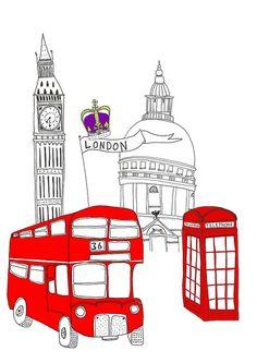London Illustration Parisienne, London Illustration, Travel Illustration, Graphic Design Illustration, London Bus, London City, London Bridge, London Sketch, Bus Art