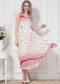 White Sleeveless Red Polka Dot Chiffon Dress EUR€20.36