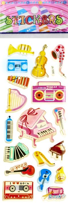 - 3 Individually packaged sticker sheets. Ready for gift giving. - Each theme may have several styles. 3 sheets selected randomly. - Music Instruments Puffy Stickers are perfect for scrapbooking, them