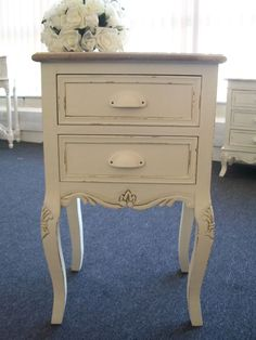 £139.95 Cream shabby vintage chic bedside table cabinet french bedroom furniture | eBay