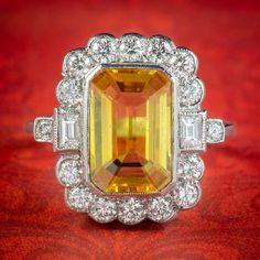 Yellow Sapphire Diamond Ring Platinum 4ct Emerald Cut Sapphire 1.50ct Of Diamond Sapphire Rings, Sapphire Diamond, 1 Vs 1, Glow, All Gems, Emerald Cut Diamonds, Scalloped Edge, Diamond Clarity, Art Deco Fashion