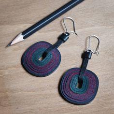 831856e4f Dark green and dark red designer earrings by SmartLeatherDesign, $45.00  Designer Earrings, Dark Red