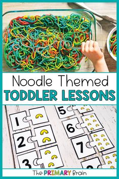 Noodle toddler activities are perfect for toddler fun! These noodle themed toddler lesson plans include everything you need for a week of toddler crafts, toddler sensory bins, fine motor skills, gross motor activities, and toddler math activities. Have fun with your 2 to 3 year old child as you explore noodles through engaging toddler curriculum. Gross Motor Activities, Language Activities, Literacy Activities, Preschool Activities, Toddler School, Toddler Fun, Toddler Crafts, Toddler Sensory Bins, Lesson Plans For Toddlers