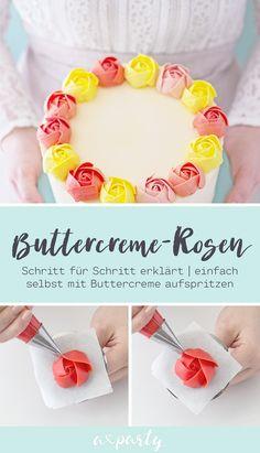 Cake Recipe For Decorating, Creative Cake Decorating, Creative Cakes, Rosas Buttercream, Frosting Flowers, Naked Cakes, Cupcakes, Cake & Co, Rose Cake
