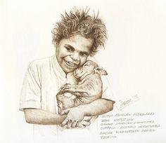 Mutiko aborigen australiarra bere wombatakin. Alastair Mcnaughtonen argazki batetik.