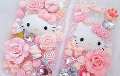 Don't forget these two Ready To Ship pearl Hello Kitty cases are still available! The left fits an iPhone 6 Plus and the right fits a Samsung S6  #decoden #blingcase #iphone6plus #samsunggalaxys6 #samsung #apple #kawaii #sanrio #hellokitty #decora #harajuku #pastelgoth