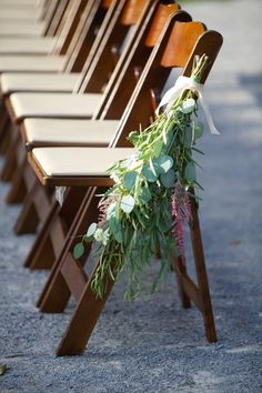 Earthy and chic eucalyptus + astilbe ceremony aisle markers {Arden Photography}