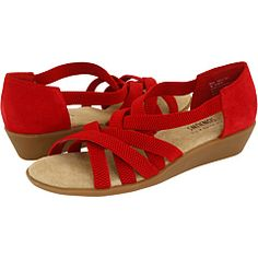red strappy low wedge sandals