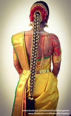 Bridal Hairstyle Indian Wedding, South Indian Bride Hairstyle, Indian Bridal Hairstyles, Bride Hairstyles, Sari Blouse Designs, Kurti Neck Designs, Flower Braids, Bridal Braids, Bridal Makeover